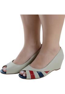 Peep Toe Laura Prado Anabela Confort Marfim