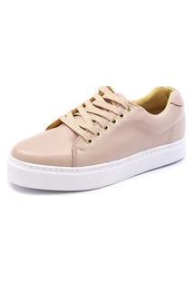 Tênis Sapatênis Shoes Grand Em Couro Nude