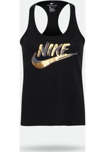 Camiseta Regata Nike Racer Metallic Preta Feminina G