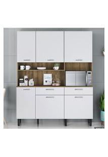 Armário Para Cozinha 6 Portas 2 Gavetas Itatiaia Móveis I1 Castanho E Branco