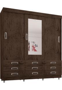 Guarda Roupa 3 Portas De Correr 9 Gavetas Com Espelho 4900- Araplac - Imbuia / Avela