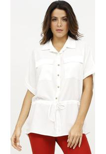 Camisa Lisa Com Canaleta - Off White - Estilo Hestilo H