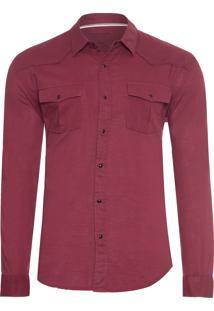 Camisa Masculina Travel Shirt - Vinho