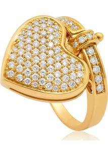 Anel De Ouro 18K Coração E Aro Com Pavê De Diamantes-Coleção My Heart