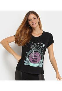 Camiseta T-Shirt Carmim Estampa Cristais Feminina - Feminino-Preto