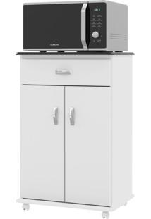 Armário De Cozinha Para Micro-Ondas 2 Portas 1 Gaveta 01370 Branco/Preto - Ej Móveis