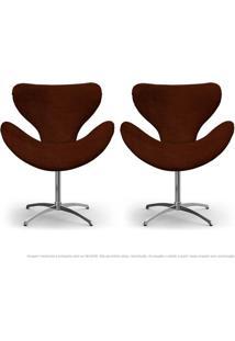 Kit De 02 Cadeiras Decorativas Poltronas Egg Marrom Com Base Giratória