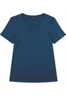 Blusa Básica Em Viscose Com Decote V Azul