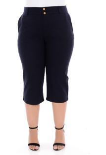 Calça Capri Plus Size Em Linho Manifesto Jeans Azul Marinho