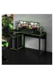 Mesa Escrivaninha Gamer Com 2 Nichos Tecno Mobili - Preto/Verde