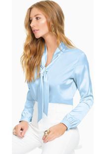 Blusa De Cetim Azul Gola Laço