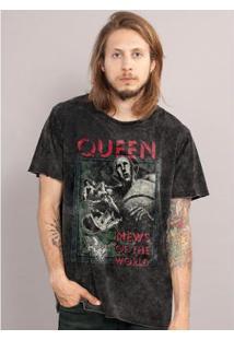 Camiseta Bandup! Marmorizada Queen News Of The World Capa - Masculino-Preto