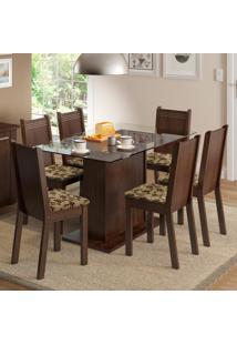 Conjunto Sala De Jantar Madesa Gales Mesa Tampo De Vidro Com 6 Cadeiras Marrom