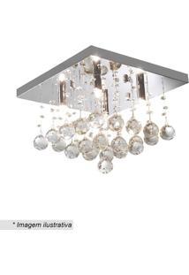 Plafon Quadrado Com Pingentes- Cristal- 24X34X34Cm