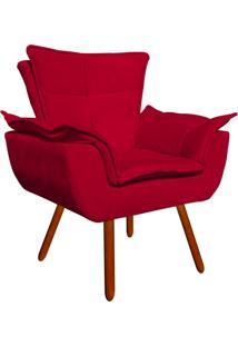 Poltrona Decorativa Opala Suede Vermelho - D'Rossi