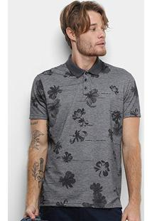 Camisa Polo Ellus Digital Flowers Masculina - Masculino-Preto