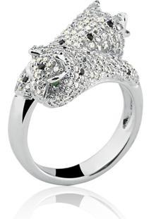 Anel Le Diamond Em Prata 925 Pantera Com Micro Zircônias