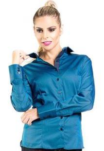 Camisa Slim Listrada Carlos Brusman Feminina - Feminino-Azul