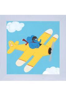 Quadro Decorativo Aviã£O - Azul & Amarelo- 29X29Cm