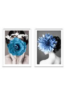 Quadro 67X100Cm Kelda Mulher Com Flores Azuis Nórdico Moldura Branca Com Vidro