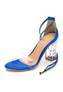 Sandália Salto Grosso Transparente Com Vinil Confortável Em Azul Metalizado