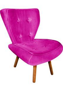 Poltrona Decorativa Tathy Suede Pink Pés Palito - D'Rossi