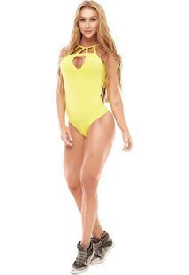 Body Tiras & Recortes - Amarelo - Vestemvestem