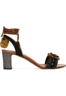 Dolce & Gabbana Sandália Com Aplicação De Pompom - Preto