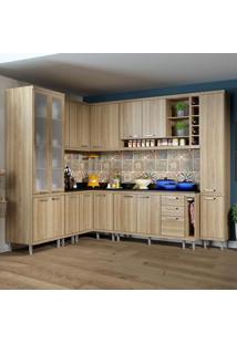 Cozinha Completa 16 Portas Com Tampo E Vidro 5805 Argila - Multimóveis