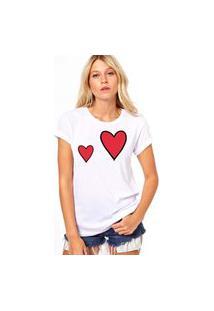 Camiseta Coolest Corações Riscados Branco