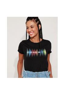 "Camiseta Feminina Now United Let The Music Move You"" Manga Curta Preta"""