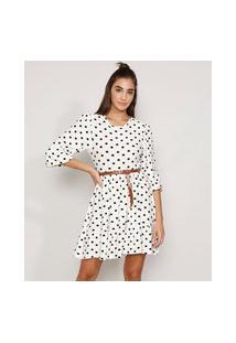 Vestido Feminino Curto Evasê Texturizado Estampado De Poá Com Cinto Manga Bufante Off White
