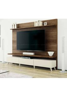 Estante Home Theater 2 Gavetas Para Tv Até 60 Polegadas Boss 180 X 218 X 40 Imbuia Touch/Off White - Imcal