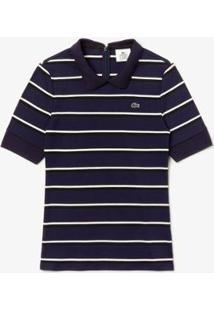 Camisa Polo Lacoste Slim Fit Feminina - Feminino-Marinho+Caqui