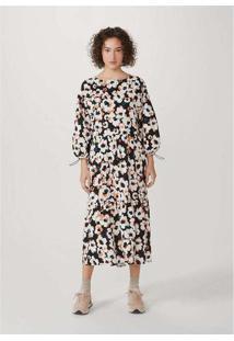 Vestido Midi Em Algodão Texturizado Preto