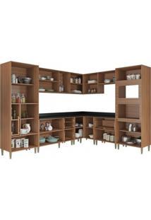 Cozinha Completa 10 Módulos 19 Portas Calábria Multimóveis Nogueira/Branco Acetinado Texturizado