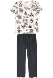 Pijama Feminino Em Malha De Algodão Estampado