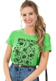 Blusa Com Estampa Tropical Verde