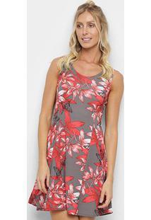 Vestido Ms Fashion Evasê Curto Floral - Feminino-Cinza