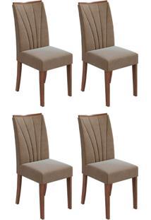 Conjunto Com 4 Cadeiras Apogeu L Imbuia E Bege