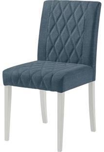 Cadeira Menta Assento Cor Azul Com Base Laca Branco Fosco - 46455 - Sun House
