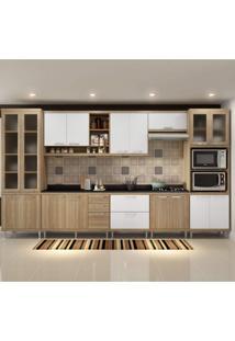 Cozinha Completa Com Tampo 17 Portas 9 Peças Sicília Multimóveis Argila/Branco