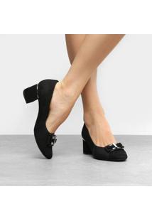 Scarpin Couro Usaflex Salto Baixo Joanete E Laço - Feminino-Preto