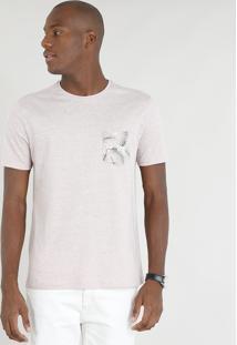 Camiseta Masculina Mescla Com Bolso Estampado Manga Curta Gola Careca Rosê