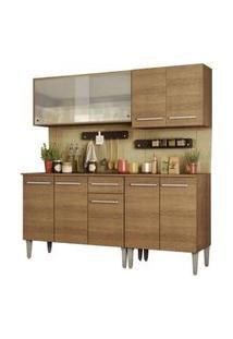 Cozinha Completa Madesa Emilly Box Com Balcão E Armário Vidro Miniboreal Rustic