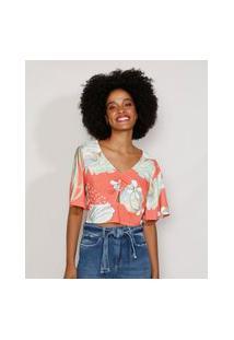 Blusa Feminina Manga Curta Ampla Cropped Estampada Floral Com Vazado Decote V Coral