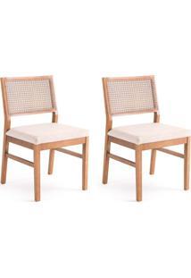 Conjunto Com 2 Cadeiras De Jantar Trama Bege E Castanho