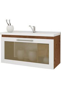 Gabinete Suspenso Para Banheiro Hibisco 44X79,3Cm Amêndoa E Branco