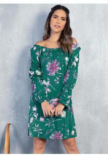 Vestido Floral Verde Ombro A Ombro Com Bolso