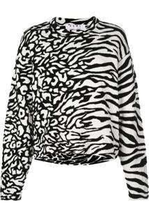 Proenza Schouler White Label Blusa Com Estampa De Zebra - Preto